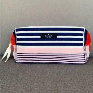 Kate Spade Striped Canvas Fabric Pouch Case Bag